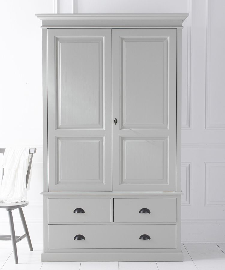 Bespoke Painted Breton Double Wardrobe With Three Drawers
