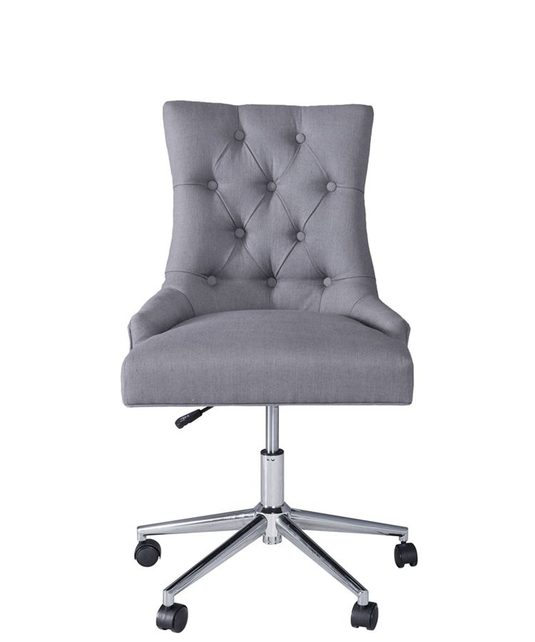Deauville Adjustable Height Swivel Home Office Chair Grey Linen Look