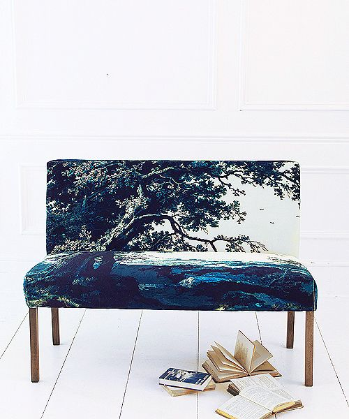 Trees Two velvet upholstered dining bench